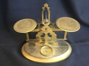 Antique Fancy Engraved Brass Jewelry Scale Signed Tiffany & Co. Union Square