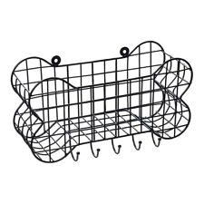 House of Paws Bone Shaped Wire Wall Storage Basket with Dog Lead Hooks Large