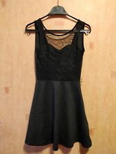 H&M Divided Little Black Dress Lace Skater Summer Open Back Size 6 XSmall NEW