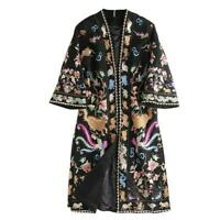 Womens trench wool blend loose Floral embroidered overcoat coats Jacket Printed