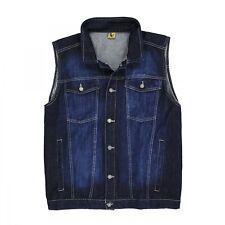 Herren Jeans-Weste in dunkelblau stonewash von Abraxas in Übergrößen bis 12XL