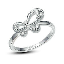SALE 18K White Gold Plated Lab Diamond Butterfly Engagement Ring Size Q / 8 187