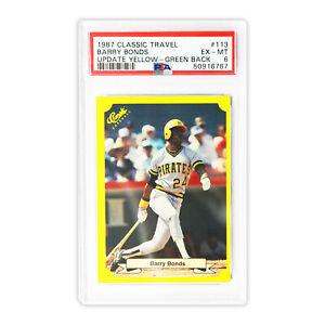 1987 Classic Travel Update Yellow - Green Back  Barry Bonds #113  PSA 6  POP 29