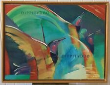Vintage oil painting. Original painting of hummingbirds. Bright abstract! Signed