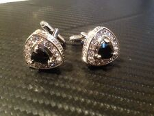 Silver Plated Oval Stone Cufflinks for Men