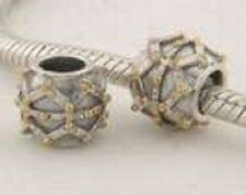 Sterling Silver 925 18k Gold Plated Details European Bead For Charm Bracelet