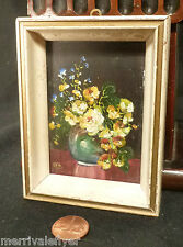 STILL LIFE Oil Painting Antique 1938 MINIATURE Flower Impressionist Signed frame