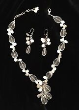 Crystal and mother of pearl necklace  & earring set NWOT