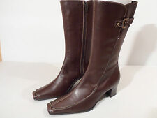Brunella Ladies Brown Leather Boots with Heel Buckle Zip EU 34.5 UK 2.25 Italian
