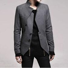 Button Mens Slim Fit Duffle Suit Pea coat Korean Stand Collar Long Sleeve 2019
