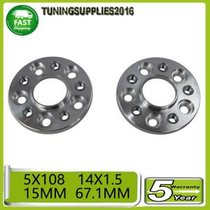 2Pcs 5X108 15Mm 5 stud Wheel Spacer For 348Ts Ferrari 14X1.5 Hb 67.1Mm