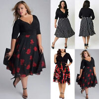 Plus Size Fashion Womens Long Prom V Neck Cocktail Ladies Party Swing Dress AU