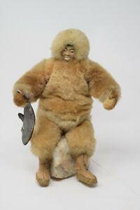 Vintage Handmade ? Alaskan Native Yupik Inuit Eskimo Fur Doll Stone Base Figure