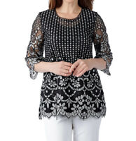 NEW Isaac Mizrahi Live! 3/4 Sleeve Black Lace Lined Tunic Top Size XS 1S