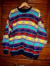 vtg 90s AUTHENTIC COOGI vivid mosaic biggie HIP HOP indie seapunk sweater wool M