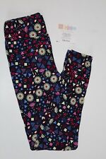 NEW LuLaRoe One Size leggings blue multi-color red floral flower print NWT OS