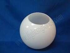 "8"" WHITE ROUND GLOBE LIGHT PLASTIC FIXTURE LAMP POLE ACRYLIC NEW POST 4"" opening"