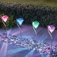 4 x Diamond Stainless Steel Solar Powered Lights LED outdoor Garden Lantern