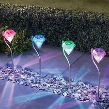 4 x diamant en acier inoxydable à énergie solaire lumières led jardin lanterne
