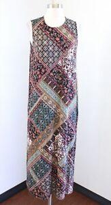 J Jill Geometric Patchwork Floral Print Knit Midi Maxi Dress PM MP Black Brown