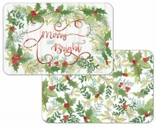 Christmas Winter Greenery Holly Decosoft Reversible Plastic Placemats Set of 4