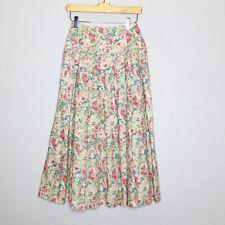 Laura Ashley 6 Skirt Small lVintage Floral Pleated Midi Full Circle Gypsy 80s