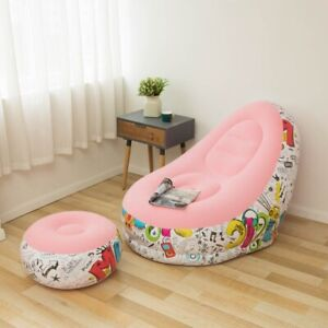 NEW INFLATABLE FLOCKING SOFA CHAIR WITH PEDAL LAZY LOUNGE COMFORTABLE SOFA
