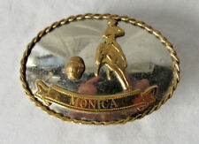 Vintage Barrel Racing Belt Buckle Nickel Silver Award  Western RARE W/ Monica