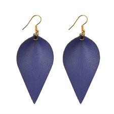 Leather Earrings Bohemian Leaf Drop Animal Print Black White Metalic Hot Sapphire Blue - (gold)