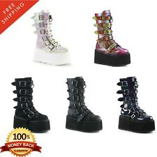 Demonia DAMNED-225 Womens Platform Lace-Up Front Mid-Calf Boot