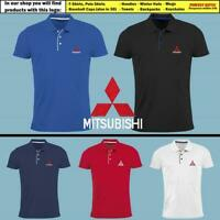 Mitsubishi Slim Fit Polo T Shirt EMBROIDERED Auto Car Logo Tee Mens Clothing