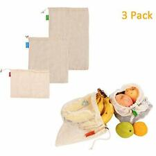 Reusable Produce Bags Mesh Organic Cotton Vegetable Grocery String Eco-friendly
