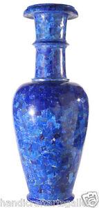 "18"" Blue Marble Flower Vase Real Lapis Inlay Art Handmade Room Decoratives H2181"