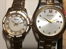 Bulova two tone watch set