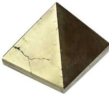 PYRAMID - IRON PYRITE 28-35mm Crystal w/Description & Pouch- Healing Reiki Stone