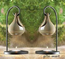 2 brown ceramic teardrop basket candle holder Wax tart Oil warmer Burner diffuse