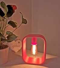 3D printed lamp in Red Burgundy PLA, with a decorative led bulb