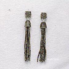 Boucles d`Oreilles Clip on Pompon Tassel Mini Perle Multicolore Long Retro B16