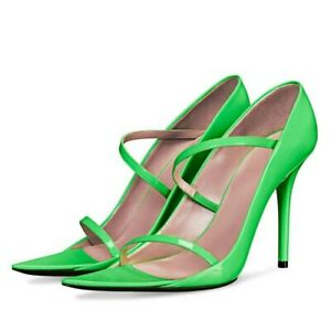 Women Sexy High Heels Pointy Toe Sandals Pump Slip On Patent Leather Shoes Party