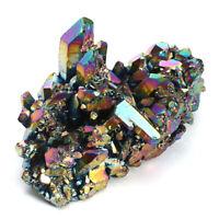 Rare Rainbow Titanium Coated Drusy Quartz Geode Crystal Cluster Specimen