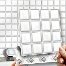 8 Stick & Go White Stick On Wall Tiles For Kitchens & Bathrooms, Self Adhesive