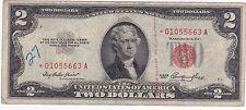 2 Dollar Bill Red Seal 1953 Star  01055663A Star Circulated