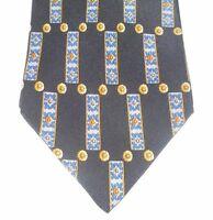 VALENTINO Made in Italy Cravatte Design Print 100 Silk Black Necktie Tie NR