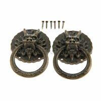 Retro Dragon Head Furniture Door Pull Handle Drawer Cabinet Knob Ring Hardware