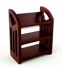 Dolls House Mahogany Book Buggy Library Stand Miniature Study Furniture 1:12