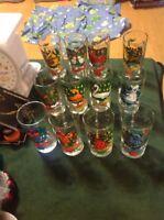 Old Vintage 12 Days of Christmas Glasses Set Lot Holiday Seasonal Collectible