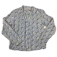 ANOKHI EAST Size 12 White & Blue Floral Blouse 100% Cotton Long Sleeve
