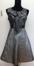 RRP £160 Karen Millen Grey Silver Metallic Fit & Flare Bow Party Dress 10 to 12