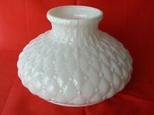 Cased Opaque White Glass Diamond Quilted Oil Kerosene Lamp Shade EUC Vintage