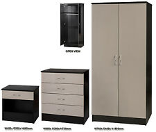 High Gloss Luxe Stone Grey & Black 3 Piece Bedroom Set Wardrobe Chest Bedside